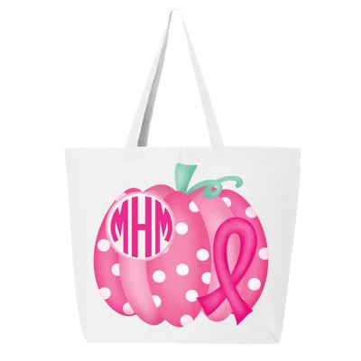 Monogrammed Breast Cancer Pumpkin Tote Bag