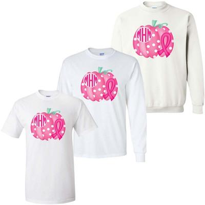 Monogrammed Breast Cancer Pumpkin Graphic Tee Shirt
