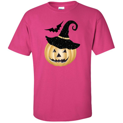 Jack O Lantern Face With Hat And Bat Graphic Shirt - Heliconia