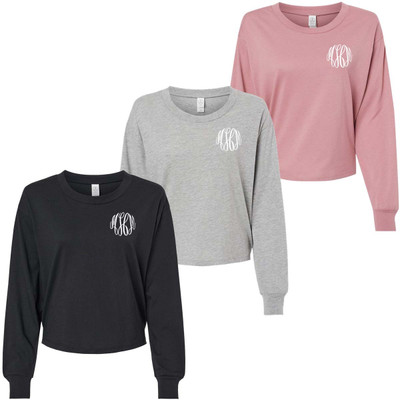 Monogrammed Cropped Long Sleeve Jersey Tee