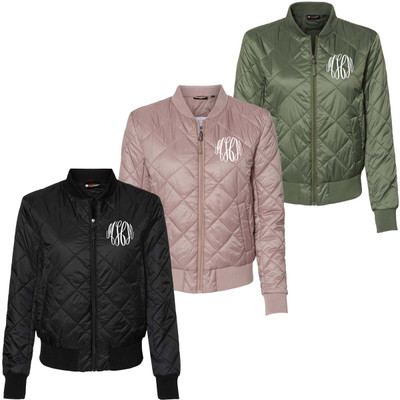 Monogrammed Quilted Bomber Jacket