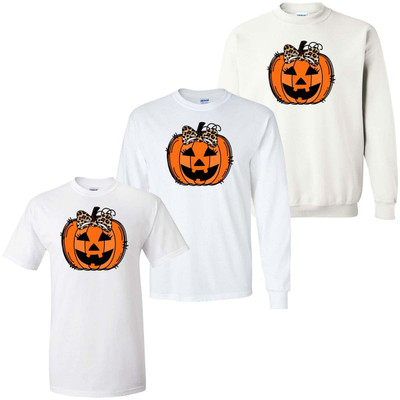 Jack O Lantern With Leopard Bow Graphic Shirt - White