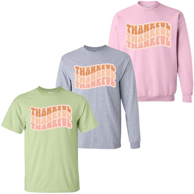Wavy Thankful Graphic Tee Shirt
