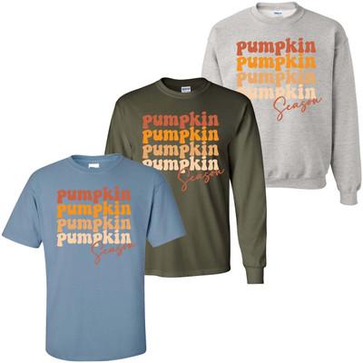 Pumpkin Season Stacked Graphic Tee Shirt