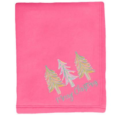Merry Christmas Trees Sweatshirt Blanket - Neon Pink