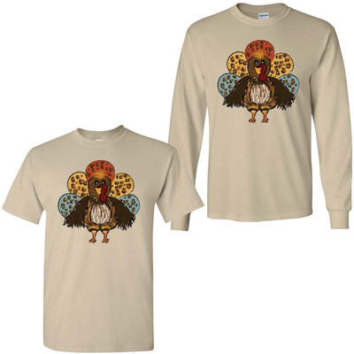 Turkey With Leopard Feathers Graphic Tee Shirt