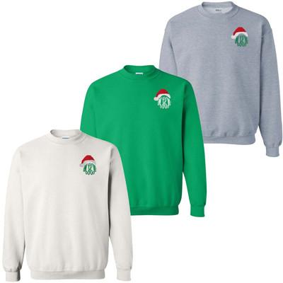 Monogrammed Embroidered Santa Hat Sweatshirt