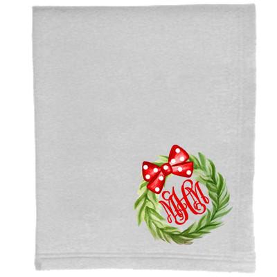 Monogrammed Christmas Wreath Sweatshirt Blanket - Ash