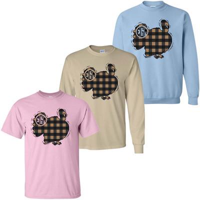 Monogrammed Plaid Turkey Graphic Tee Shirt