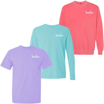 Embroidered Teacher Comfort Colors Graphic Shirt