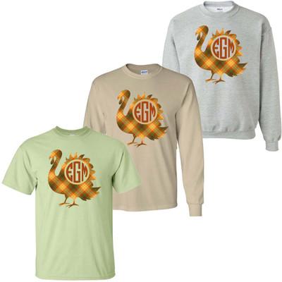 Monogrammed Fall Plaid Turkey Graphic Tee Shirt