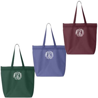 Monogrammed Zippered Tote Bag