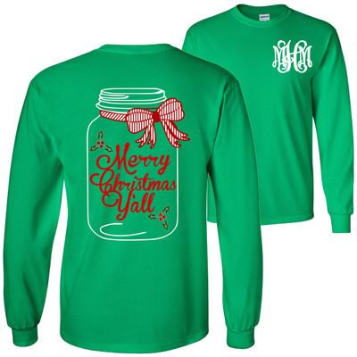 Monogrammed Christmas Mason Jar T-Shirt - Irish Green