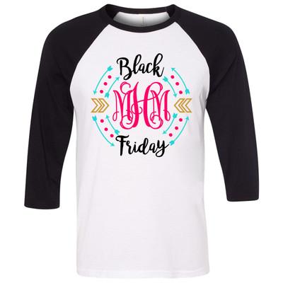 Monogrammed Black Friday Graphic Raglan Tee - Black