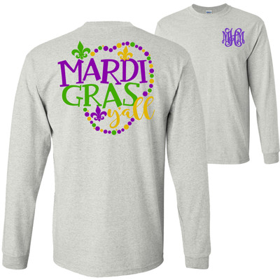 Monogrammed Mardi Gras Yall T-Shirt - Ash