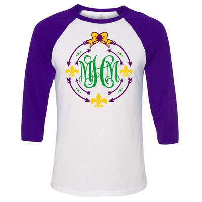Monogrammed Mardi Gras Fleur De Lis Circle Raglan Tee - Purple
