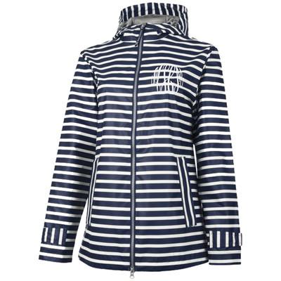 Ladies Monogrammed Rain Jacket - Navy Stripe