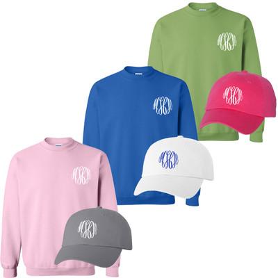 Monogrammed Sweatshirt and Cap Bundle