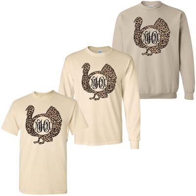 Monogrammed Leopard Turkey T-Shirt