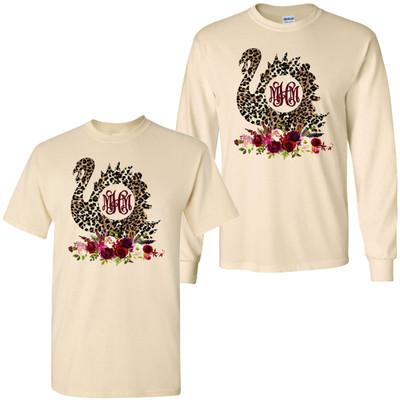 Monogrammed Leopard Turkey With Flowers T-Shirt