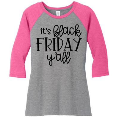 Its Black Friday Yall Raglan Tee - Fuchsia/Grey