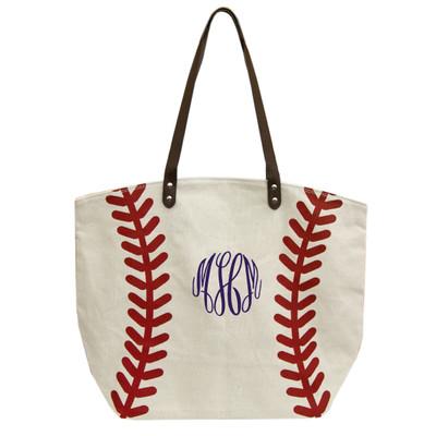 Monogrammed Baseball Tote Bag
