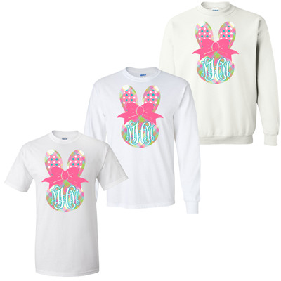 Personalized Plaid Bunny Graphic Tee