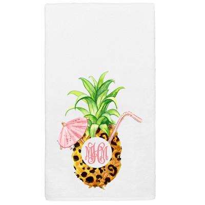 Monogrammed Graphic Beach Towel - Leopard Pineapple