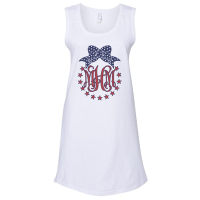 Monogrammed Patriotic Star Circle Racerback Swimsuit Cover Up