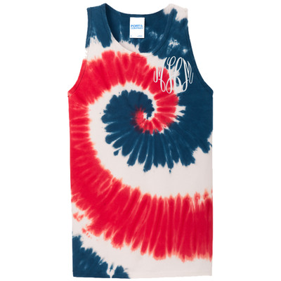 Monogrammed Tie-Dye Tank - Red White and Blue