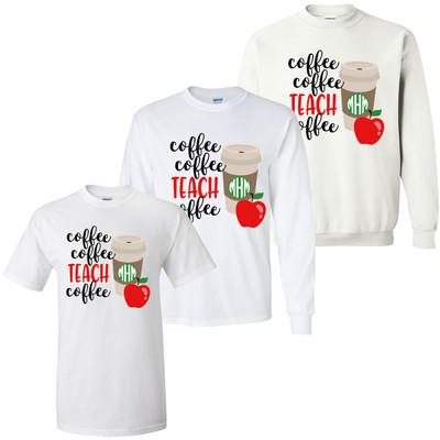 Monogrammed Coffee Coffee Teach Coffee Graphic Tee