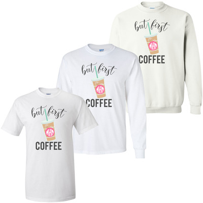 Monogrammed But First Coffee Graphic Tee