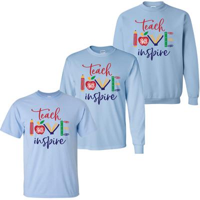 Monogrammed Teach Love Inspire Shirt - Light Blue