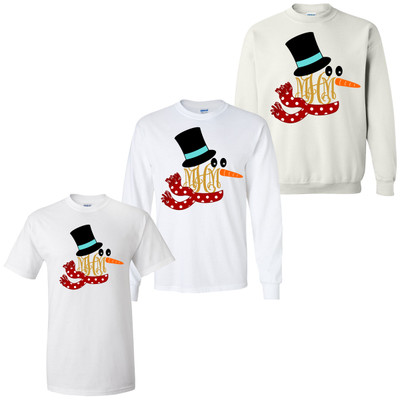 Monogrammed Snowman With Scarf Graphic Tee