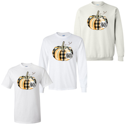 Personalized Plaid Pumpkin Graphic Tee