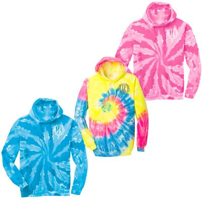 Monogrammed Tie Dye Pullover Hooded Sweatshirt