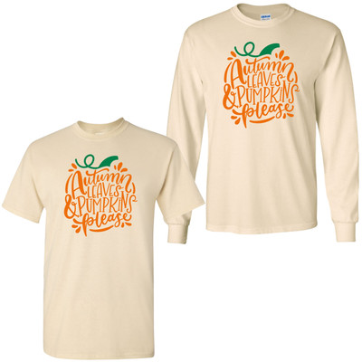 Autumn Leaves And Pumpkins Please Graphic Tee - Natural