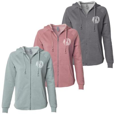 Monogrammed Ladies Washed Full Zip Hooded Sweatshirt