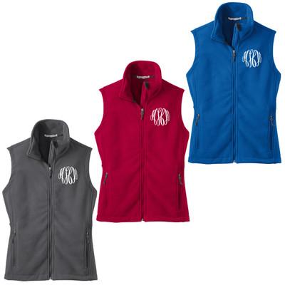 Monogrammed Ladies Fleece Vest