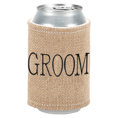 Personalized Burlap Coozie - Groom