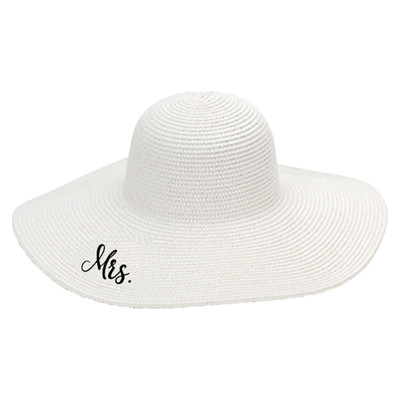 Personalized Floppy Hat For Ladies White - Mrs