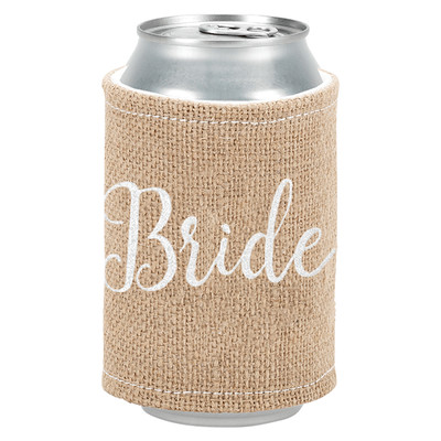 Personalized Burlap Coozie - Bride