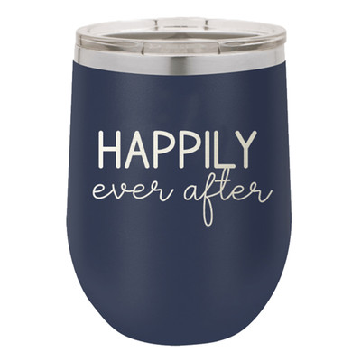 Monogrammed Stainless Steel Wine Tumbler - Happily Ever After