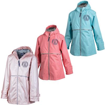 Monogrammed Girls New Englander Rain Jacket