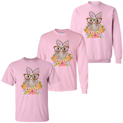 Easter Bunny With Leopard Glasses T-Shirt - Light Pink
