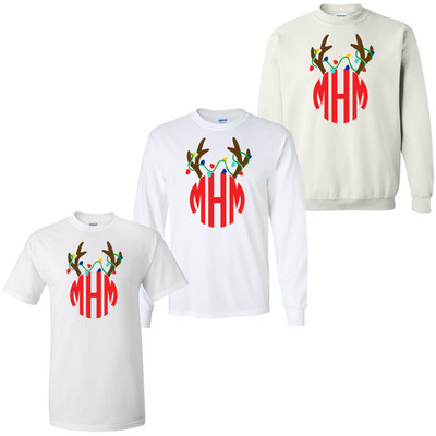 Personalized Reindeer Antlers With Lights Graphic Tee