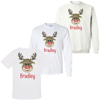 Personalized Boy Reindeer With Lights Graphic Tee