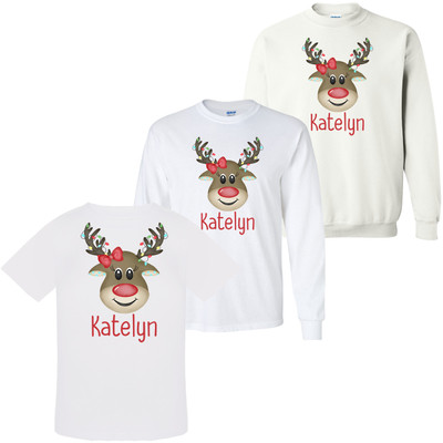 Personalized Girl Reindeer With Lights Graphic Tee