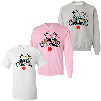 Merry Christmas Antlers With Lights Shirt