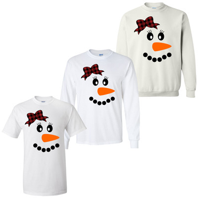 Snowman With Buffalo Plaid Bow Graphic Tee